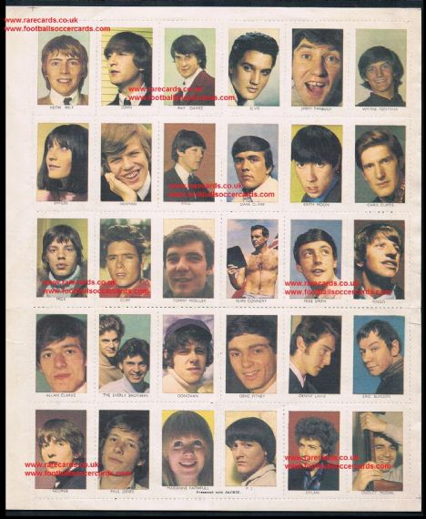 1964 Jackie Magazine sheet sticker stamps Elvis Beatles Rolling Stones Bob Dylan  Marianne Faithfull